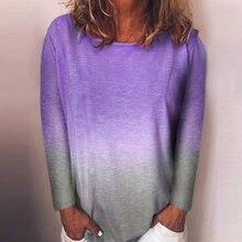 2019 Summer Autumn Women Tee Shirts Gradient Purple Tops Womens Ladies Long Sleeve Loose Casual T-shirt Plus size 5XL