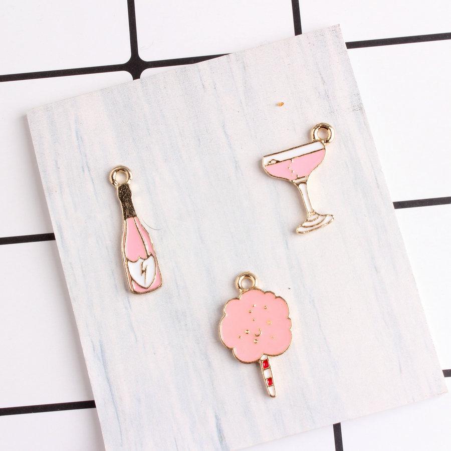 20pcs/lot New Arrival Pink Color Wine Bottle Spun Sugar Shape Oil Drop Enamel Charm Pendants for Jewelry