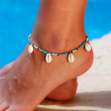 Tobillera S164 de tortuga de mar Bohemia para mujer, abalorios de estrella de mar, pulsera de tobillo de Estilo bohemio, joyería hecha a mano para pierna