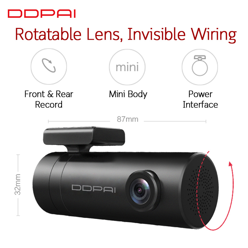 Image 5 - Global Version Xiaomi Mijia Mini DDPai Mini English DDPai Dash Cam Camera Mini Body Power Interface Front Rear Record-in DVR/Dash Camera from Automobiles & Motorcycles
