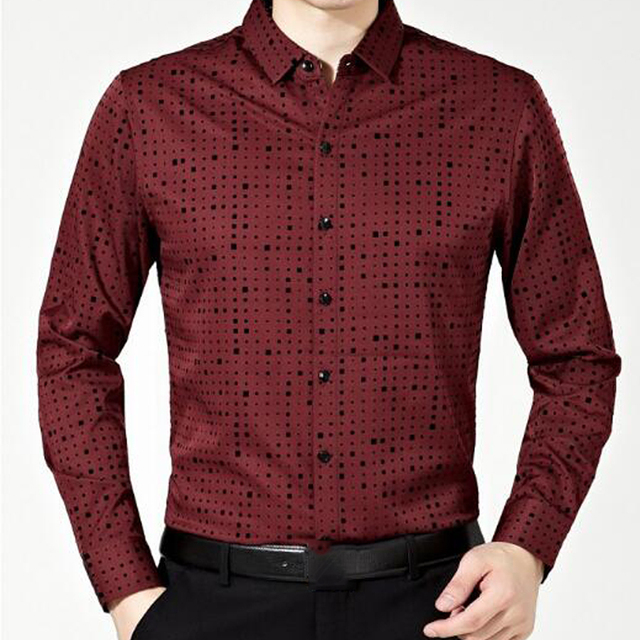 Hot sell Men solid color full sleeve men clothes formal polka dot Dress business shirts high quality brand turn-down collar tops