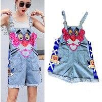 Lolita Young Ladies Denim Jumpsuits Women Summer Loose Cartoon Sequins Denim Overalls Rompers Party Nice Jumpsuits NS705