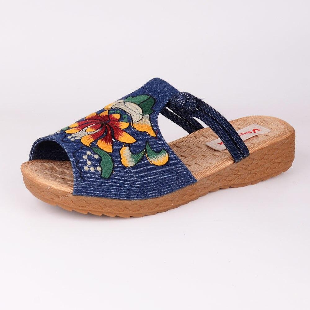 Image 2 - Veowalk الأزياء امرأة نعال مسطحة صندل كاجوال الصينية زهرة التطريز مريحة أحذية ناعمة للنساء zapatos موهيرشباشبأحذية -