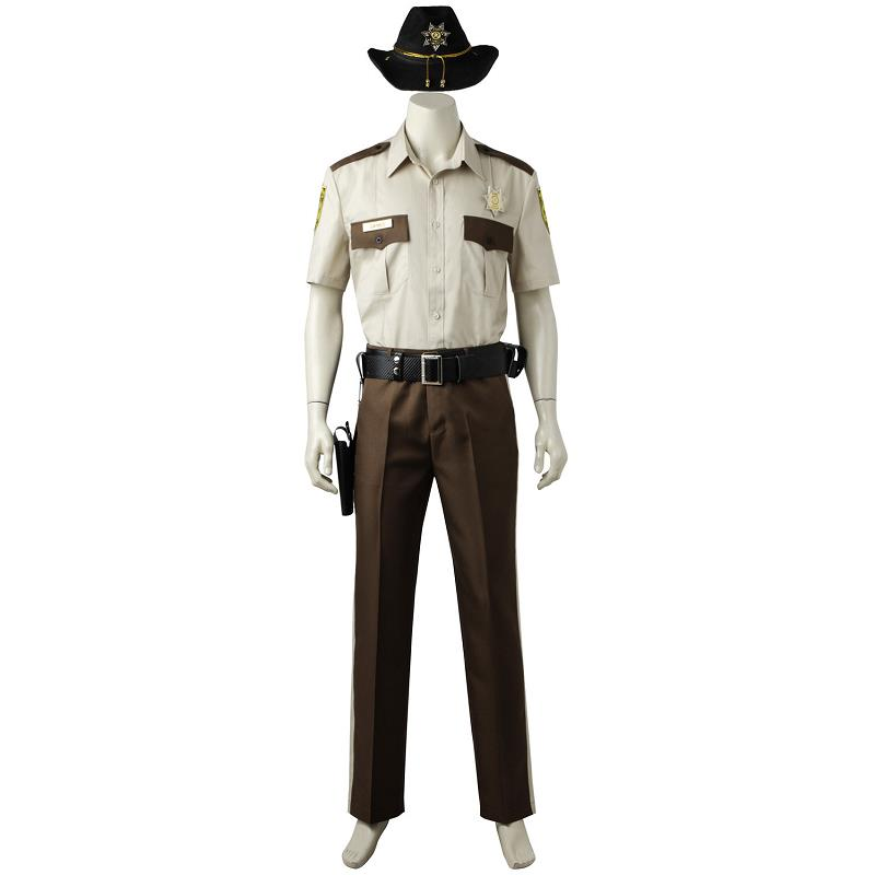 2018 The Walking Dead Season 1 Rick Grimes Cosplay Costume New Year Pants Shirt Outfit For Adult Men Custom Made Halloween Party