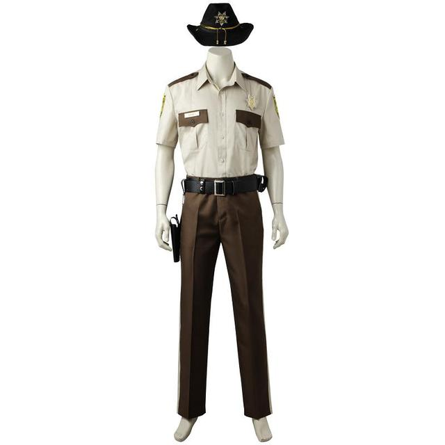 04632fd5f6d 2018 The Walking Dead Season 1 Rick Grimes Cosplay Costume New Year Pants  Shirt Outfit For Adult Men Custom Made Halloween Party