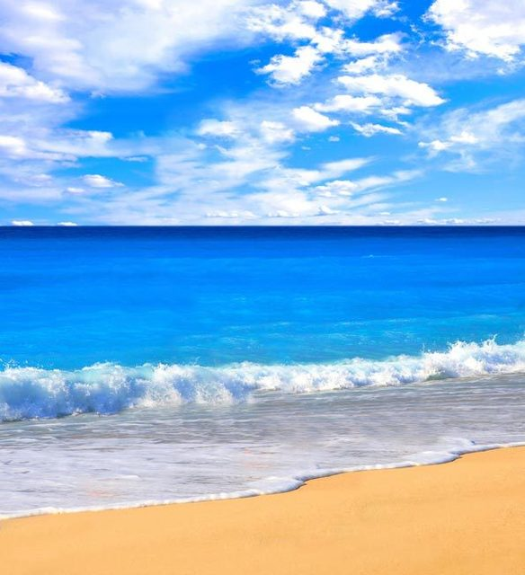 10x10ft الصيف الغيوم السماء الزرقاء البحر رمل شاطئ الموج