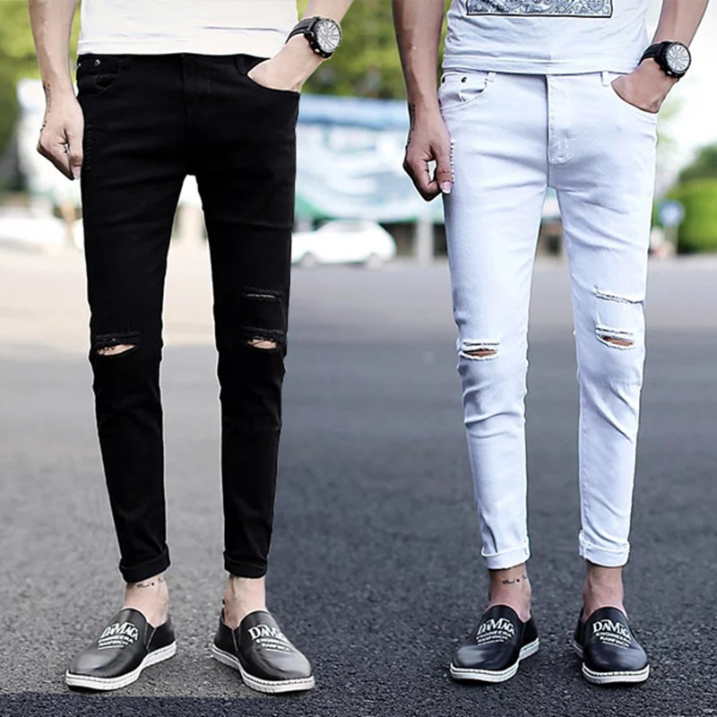 2017 New Famous Brand Men White Jeans Fashion Design Slim Fit Casual Skinny Ripped Hip Hop Jeans For Men Joggers 2016 italy famous men s jeans new brand men slim fit jeans trousers wear white ripped skinny ripped denim jeans for men