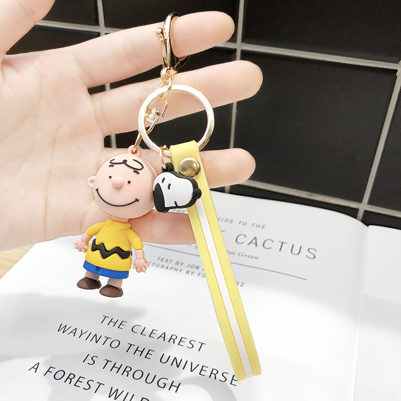 2019 New INS Cute Cartoon Charlie Brown Key Chain Women Or Men Keychain Car Bag Charms Accessories Anime Keychain Boyfriend Gift in Key Chains from Jewelry Accessories