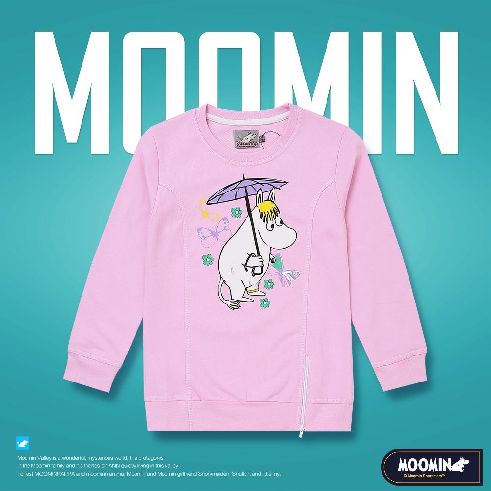 Moomin 2018 girl Active girls Character sweatshirt long sleeve girl pink without hood o-neck cartoon 65% cotton sweatshirts girl long sleeve v neck pumpkin print halloween sweatshirt