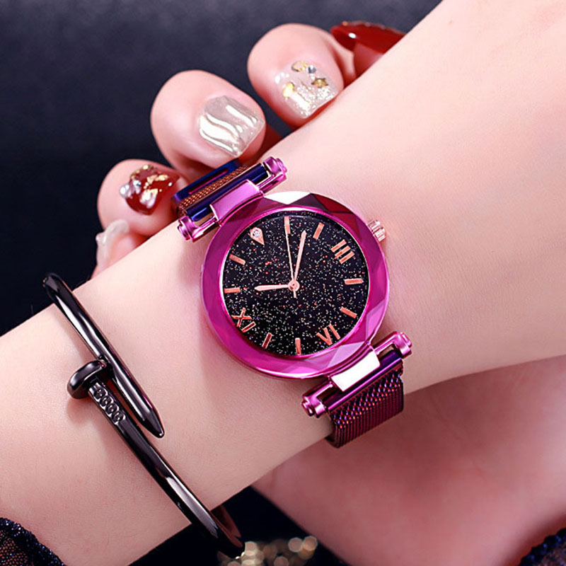 Starry Sky Women Watches Quartz Magnetic Band Flower Mirror Geometry Crystal Wholesale Ladies Bracelet Creative Zegarek Damski