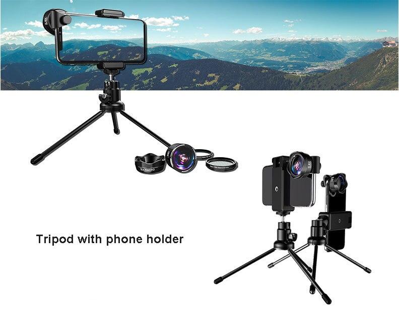 5in1 4 K HD Telefoon Camera SLR Lens Kits: foto Filter CPL & Star 8 & Statief + Awesome Fisheye & Groothoek & Macro Lenzen voor Smartphones - 2