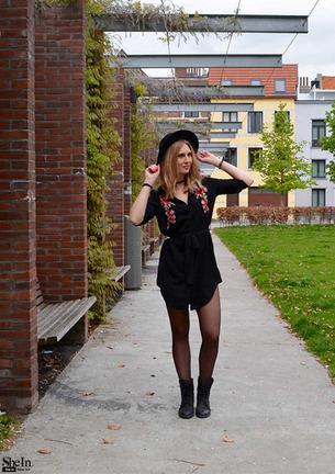 Sheinside Designer Dress Women Office Dresses Midi Dresses Black Floral Embroidered Curved Hem Belted Shirt Dress