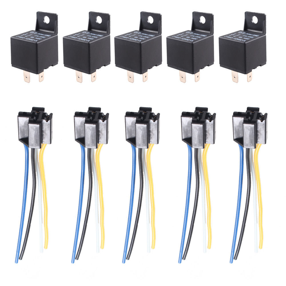 Ee Support 5 X Car Truck Auto 12v 40a 40 Amp Spst Relay Relays 4 Pin Wiring A Spdt 4p Socket Wire Xy01 In Switches From Automobiles Motorcycles On