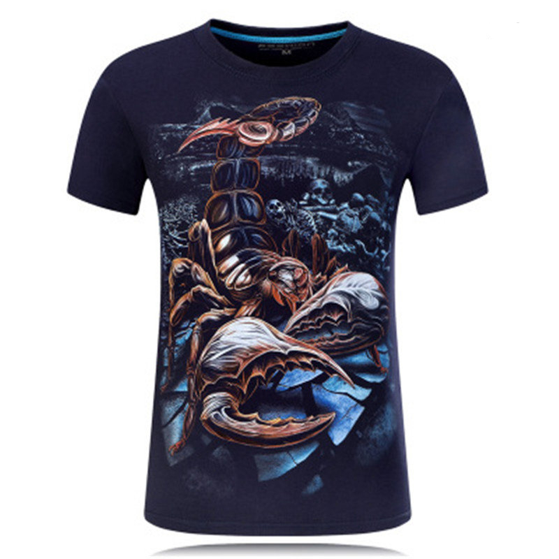 Summer T Shirts Men 3D Printed Scorpion Causal Brand-clothing Short Sleeve T-shirts Male Tees Round Neck Hip Hop Pullover Top