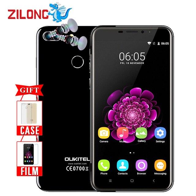 """Оригинальный Oukitel U20 плюс двойная камера смартфона 5.5 """"IPS FHD MTK6737T Quad Core отпечатков пальцев ID 13MP 3300 мАч 2 г + 16 г мобильного телефона"""