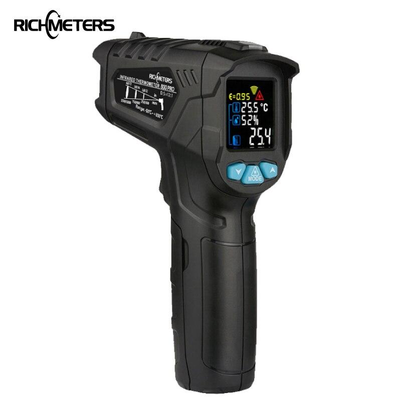 RICHMETERS 550PRO Digitale Termometro a infrarossi del laser Pistola Temperatura A CRISTALLI LIQUIDI Variopinta Dello Schermo Pirometro di Alta/Basso di Allarme