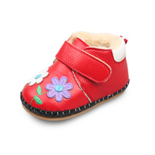XQT.GZ New Winter Baby Shoes Warm Cotton Toddler Shoes Little Girls Genuine Leather Shoes Non-slip Baby Flower Shoes
