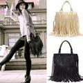2015 New Women Fashion Punk Tassel PU Leather Handbag Multi Solid Color Rivets Shoulder Bags Tote Perfect 31