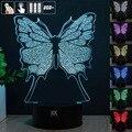 Borboleta Luz Da Noite 3D RGB Mutável Mood Lamp LED Luz DC 5 v usb candeeiro de mesa decorativo obter um free controle remoto hui YUAN