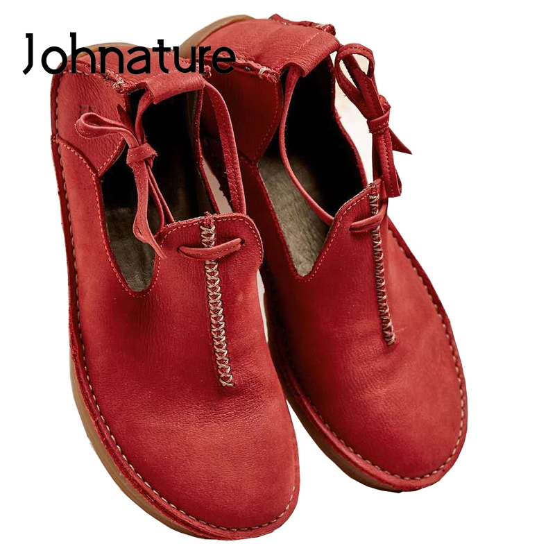 Johnature Women Shoes Flats Casual Summer Round-Toe Lace-Up Fashion New Print Shallow