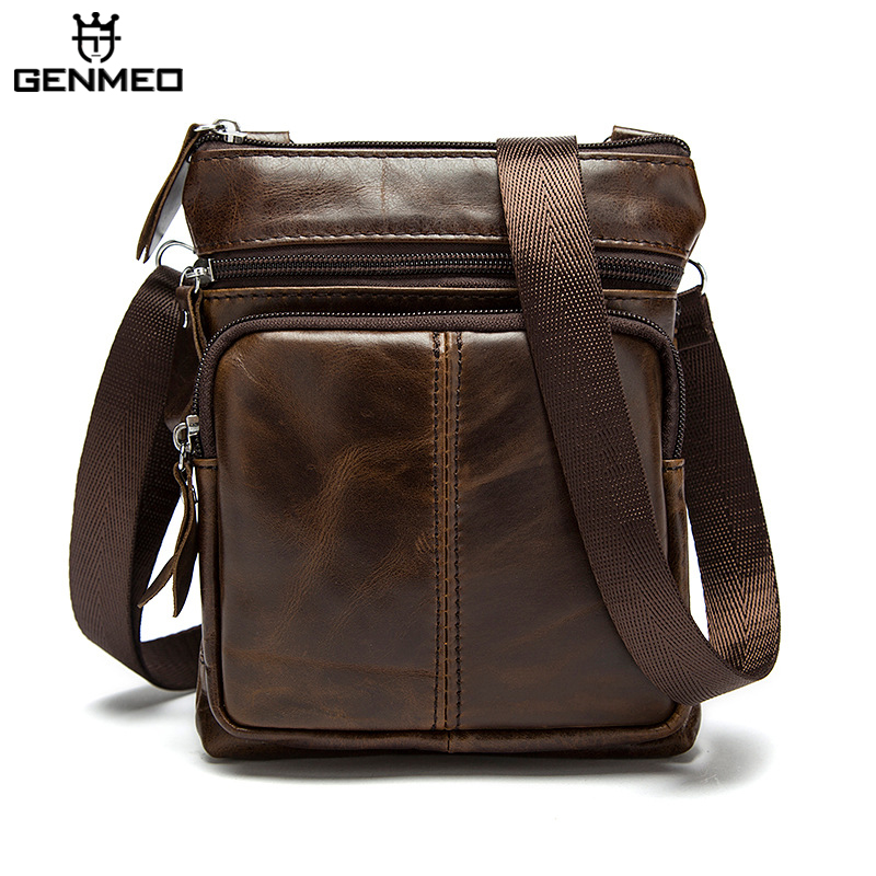New Arrival Genuine Leather Men Messenger Bag Male Cow Leather Shoulder Bags Vintage Real Leather Handbag Bolsa aetoo the new oil wax cow leather bags real leather bag fashion in europe and america big capacity of the bag
