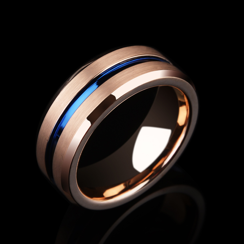 New Arrival 8MM Width Rose Gold Man's Jewelry Rings Tungsten Carbide Band with Thin Blue Groove and Brushed Finishing Size 7 11