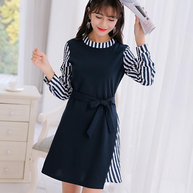a1acabb5be Korean spring autumn dress women clothing cute long sleeve dress stripe  patchwork Navy blue dress fashion bodycon dress Vestidos-in Dresses from  Women s ...