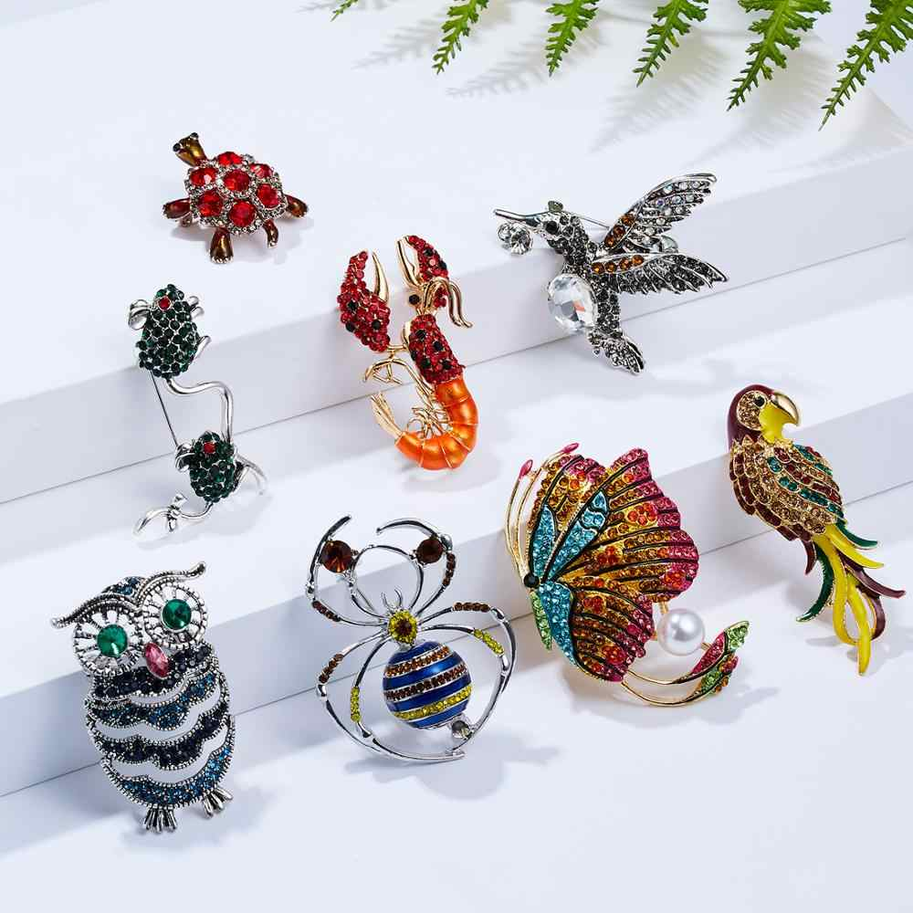 Fashion Insect Butterfly Birds Brooch Rhinestone Bee Owl Lobster Turtle Animal Brooches Women  Enamel Lapel Pins for Mujer Men
