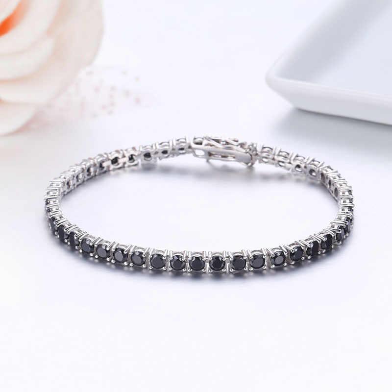 3 Mm 925 Sterling Silver Cluster Sample Hitam CZ Ziron Tenis Gelang Pulseras Pulseira Bracelete Wanita Perhiasan Gadis Teman Hadiah