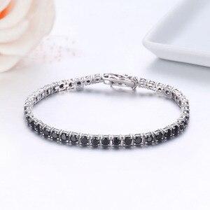 Image 3 - 3mm 925 argent Sterling Cluster rond noir CZ Ziron Tennis Bracelets Pulseras Pulseira bracelet femmes bijoux fille ami cadeau