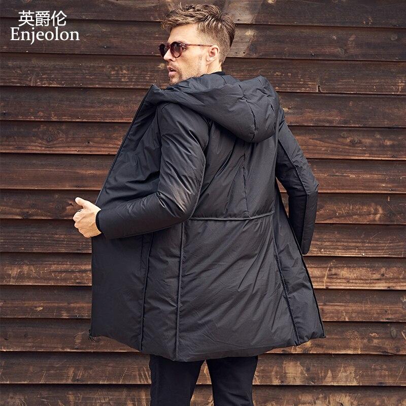 Enjeolon marque chaud épaississent hiver à capuchon longue doudoune hommes lumière hoodies caot noir manteau plus taille 3XL vers le bas parka MF0119