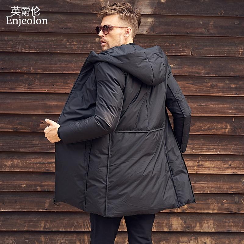 Enjeolon marque chaud épaississent hiver à capuchon vers le bas veste longue hommes lumière hoodies caot noir manteau plus taille 3XL vers le bas parka MF0119
