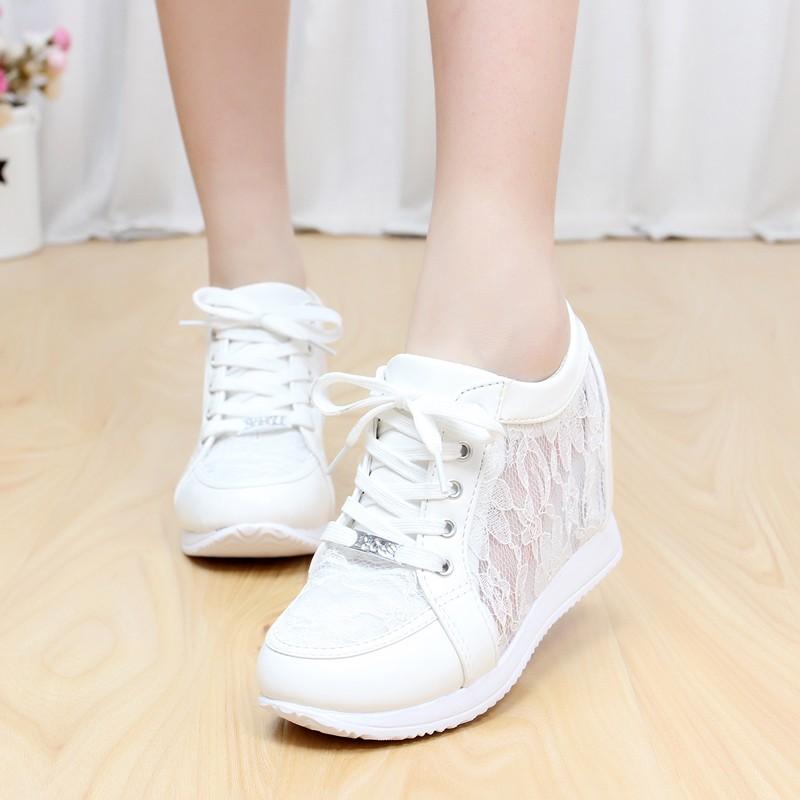 Black White Free Shipping Hidden Wedge Heels Fashion Womens Elevator Shoes Casual Shoes For Women wedge heel Rhinestone