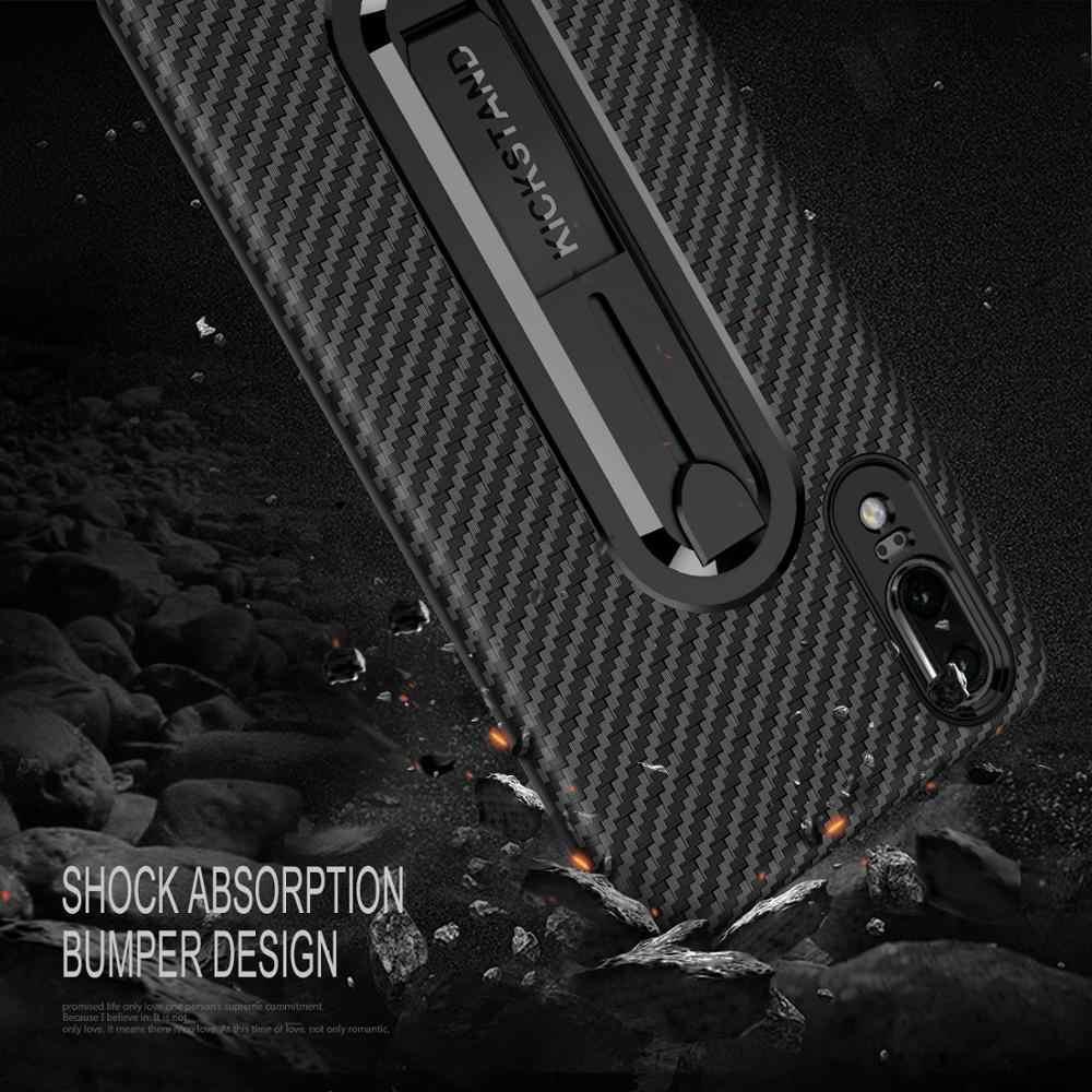 Sợi Carbon Điện Thoại Ốp Lưng Huawei Y6 Y7 Y9 2018 P Thông Minh P20 Lite Pro Giao Phối 10 Pro Giao Phối 20 Lite Bìa Mềm có Chân Đế