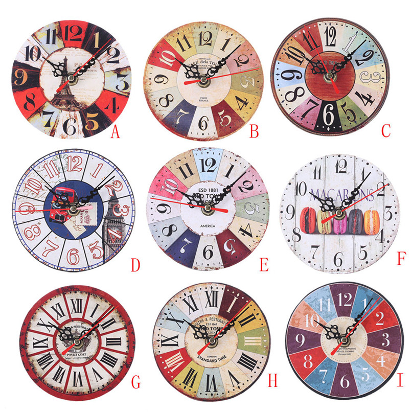 1PC Wall Clock Modern Design wall watch Vintage Style Non-Ticking Antiqu Wall Clock horloge murale reloj de pared decorativo D19 (2)