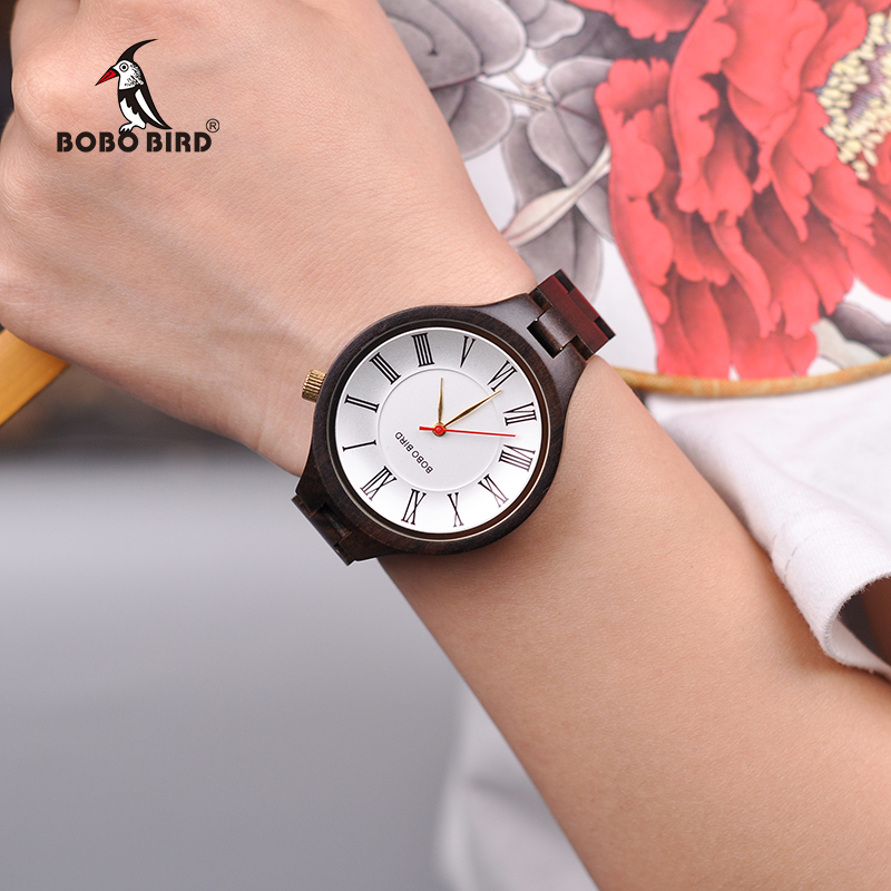 BOBO BIRD Roman Numeral Scale Women Wooden Bamboo Quartz Watches Ladies Wristwatch with Wood Band in Gift Box
