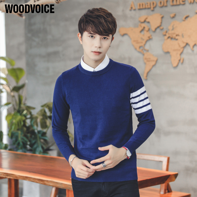 Woodvoice 2017 Brand Clothing Knitted Pullovers Sweaters Man O-Neck Brand Clothing Mans Casual Sweater Pure Color Free Shipping