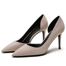 Women's Pumps High Heels Slip-on New Fashion Spring Summer Shoes Kid Suede Leather Thin Heels Ladies Party Wedding Shoes E0070 недорого