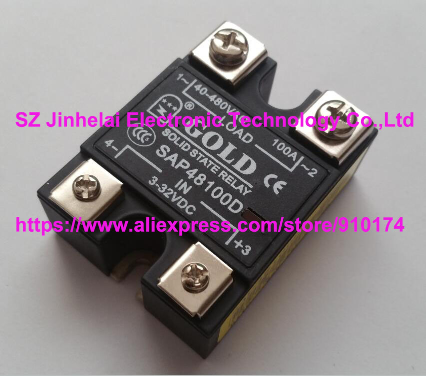 New and original  SAP48100D  GOLD Single phase Solid state relay   3-32VDC, 40-480VAC  100A new and original sa340100d sa3 40100d gold three phase solid state relay 480vac 100a