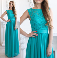 2017 Turquoise Country Bridesmaid Dresses Long Sleeveless Jewel Lace Top Chiffon Skirt Women Formal Wedding Party