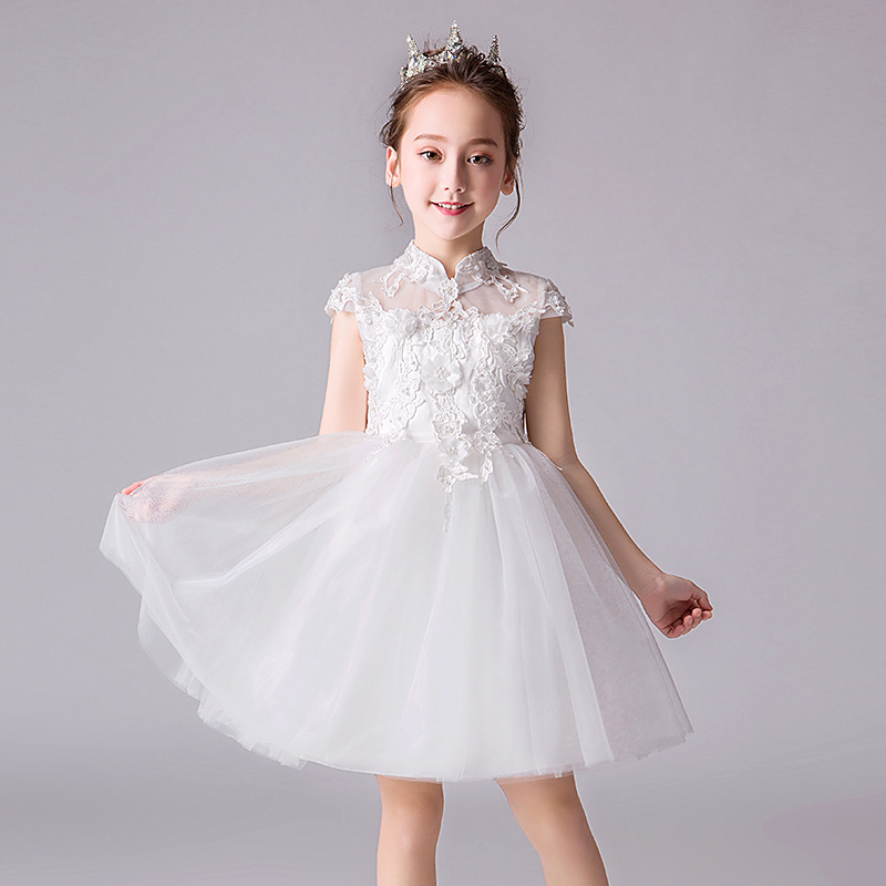 It's YiiYa Lace   Flower     Girl     Dress   Illusion Tulle   Flower     Girl     Dress   for Wedding High Collar Kid Party Communion Gown 2019 DK2969