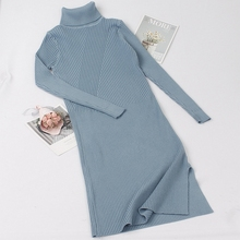 GIGOGOU Turtleneck Women Sweater Dress Mid-Calf Long Autumn