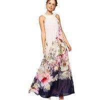 BOHO Style 2017 Chiffon Beach Dress Women Floral Printing Summer Sleeveless Hanging Neck Sundress Sexy Ladies