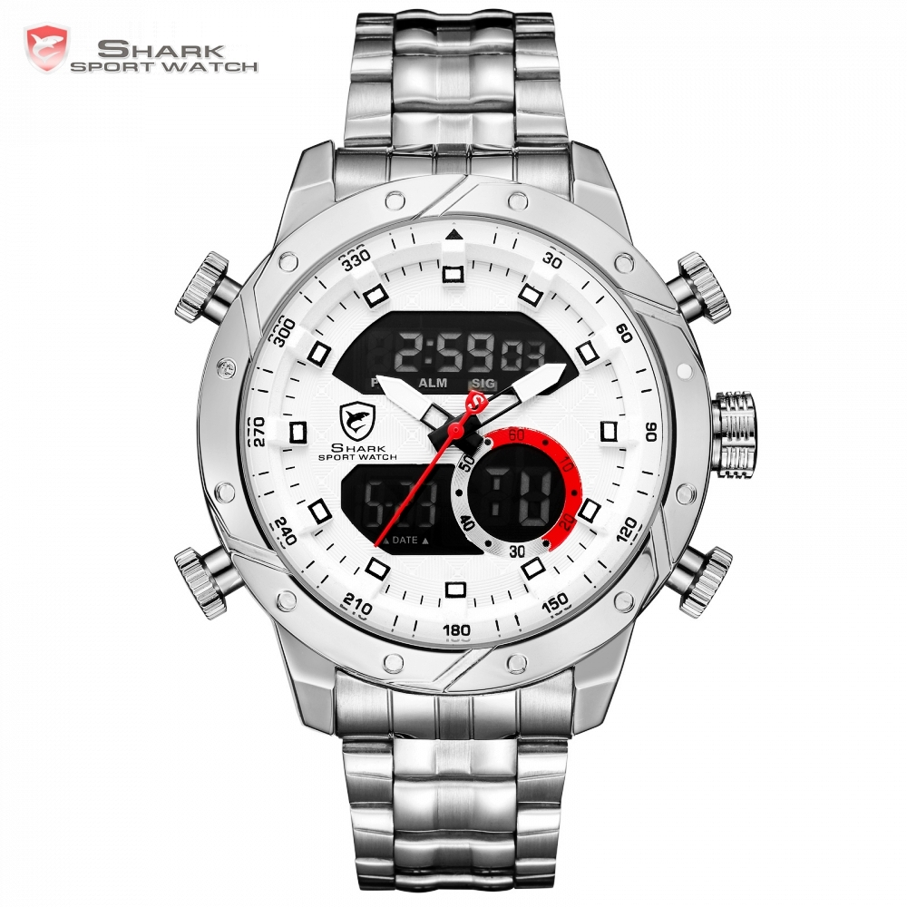 Snaggletooth SHARK Sport Watch LCD Auto Date Alarm Silver Steel Band Chronograph Dual Time Relogio Quartz Digital Watches /SH589