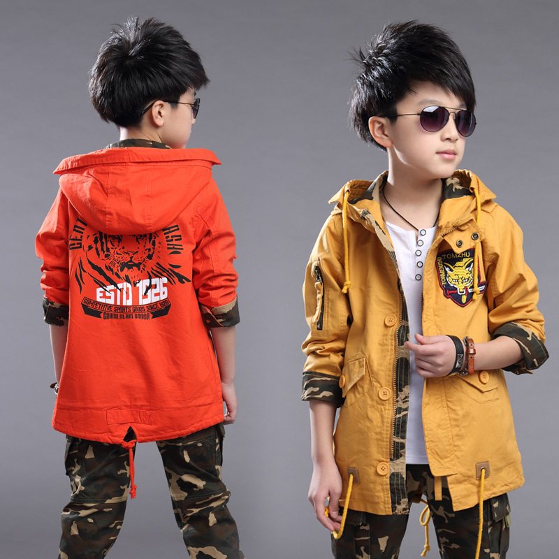 ФОТО 2016 new spring children's clothing boys spring and autumn coat jacket and long sections windbreaker jacket big virgin