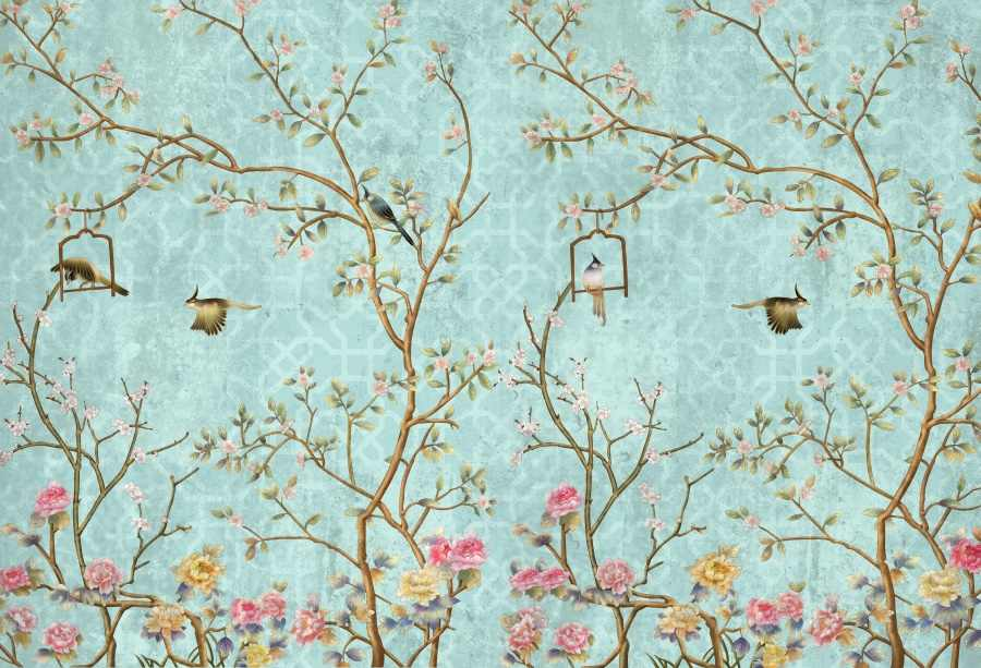 Laeacco Photo Backgrounds Spring Flowers Tree Bird