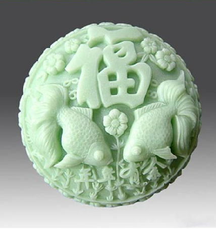 Round Moon Cake Mold DIY Creative Craft Making Tool Fish Flower Pattern Silicone Mould
