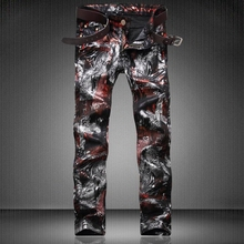 Nightclubs Singers 3D Printed Jeans Men High Quality Fashion Brand Designer Skinny Jeans Casual Hip Hop