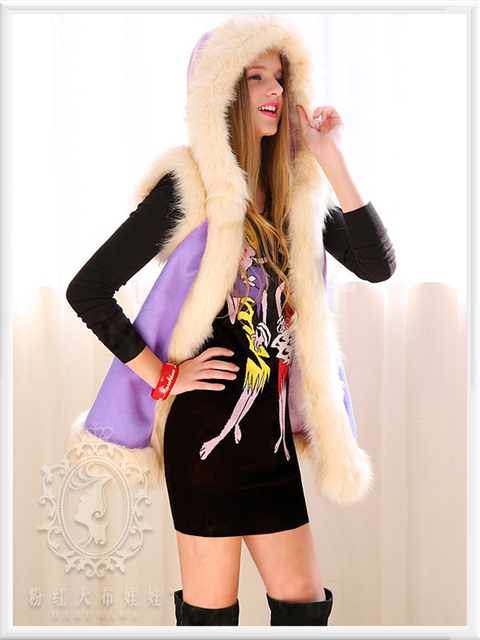 dabuwawa 2016 fur collar fashion casual hooded woolen vest coat women pink doll