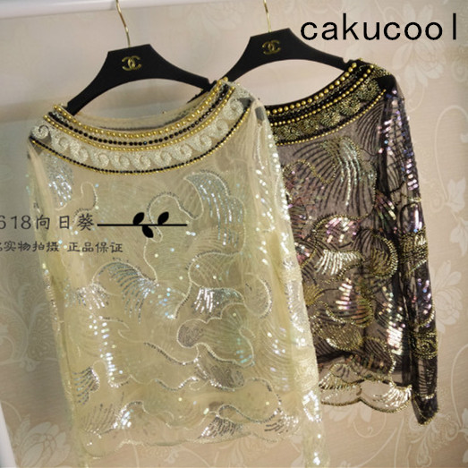 Cakucool Women Beading Blouse Shirt Long Sleeved Chiffon Tops Sequined See Through Embellish Pullover Women Blusas Top Shirt